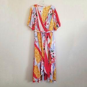 New York & Company Floral Mix Print Maxi Dress XL